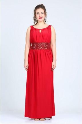 فستان مع شك حفر - احمر