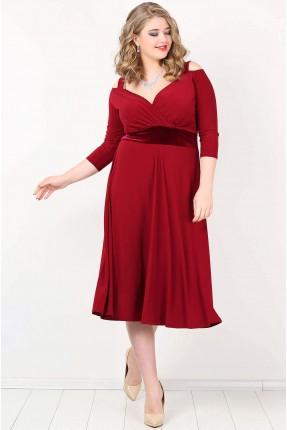 فستان مفرغ الاكتاف بخصر مخمل - خمري
