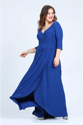 فستان مفتوح من الصدر - ازرق