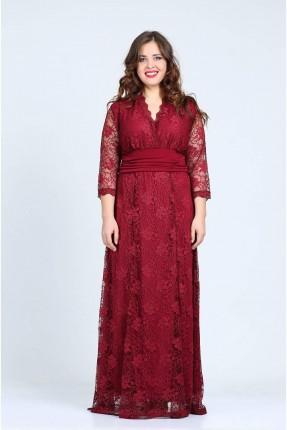فستان دانتيل باكمام شفافة - خمري
