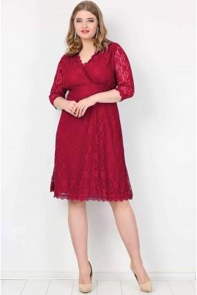 فستان دانتيل قصير - خمري