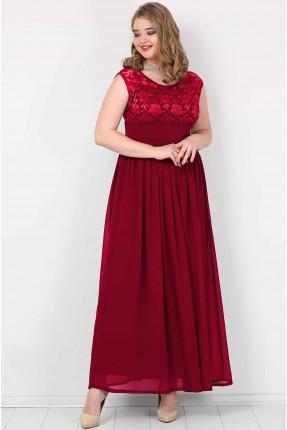 فستان طويل حفر  دانتيل - خمري