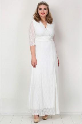 فستان دانتيل باكمام شفافة - ابيض