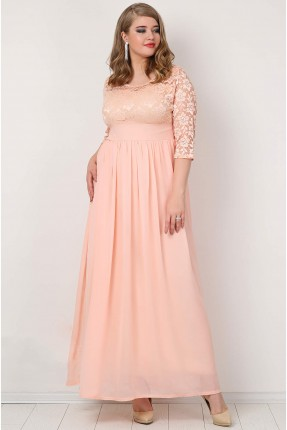 فستان طويل دانتيل باكمام شفاف