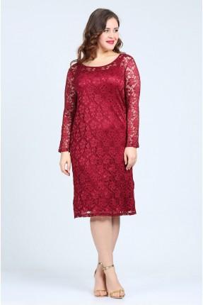 فستان دنتيل باكمام وظهر شفاف - خمري