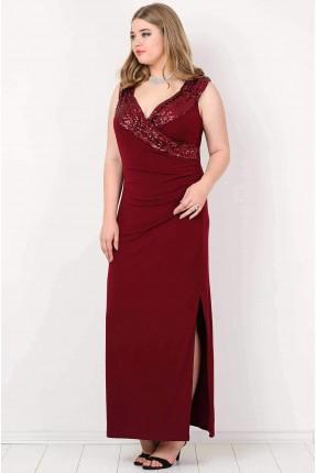 فستان حفر مع شك من الامام - خمري