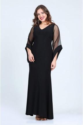 فستان شيك باكمام شيفون - اسود