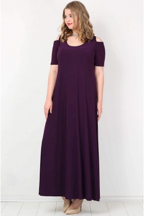 فستان طويل مفرغ الاكتاف - بنفسجي