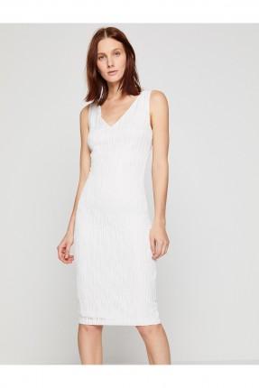 فستان ياقة V  _ ابيض