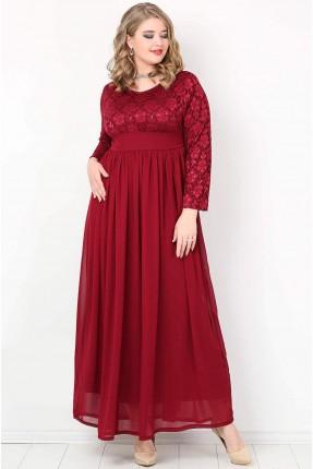 فستان طويل دانتيل - خمري