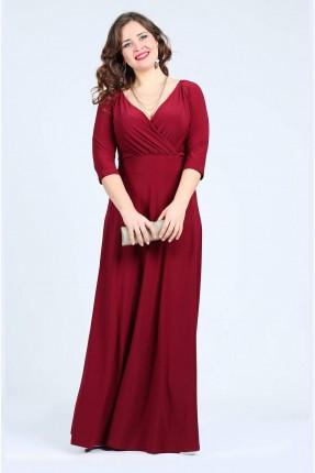 فستان طويل مفتوح من الامام - خمري