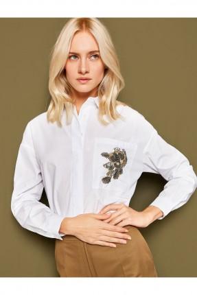قميص قطن نسائي مشكوك وردة  _ ابيض