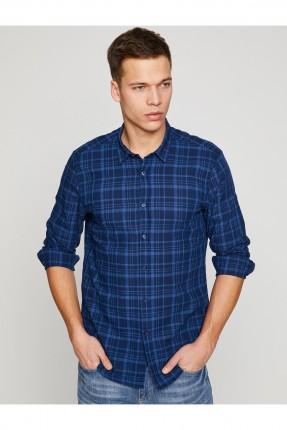 قميص رجالي كاروهات _ ازرق داكن