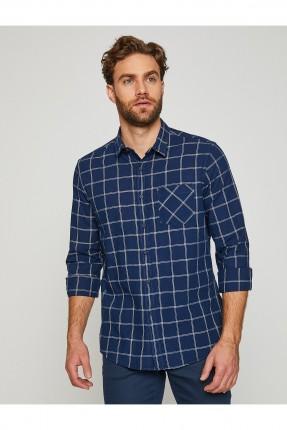 قميص رجالي موديل كاروهات مع جيب _ ازرق داكن