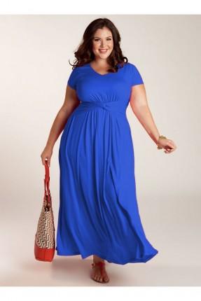 فستان مزمومة الخصر ربع كم - ازرق