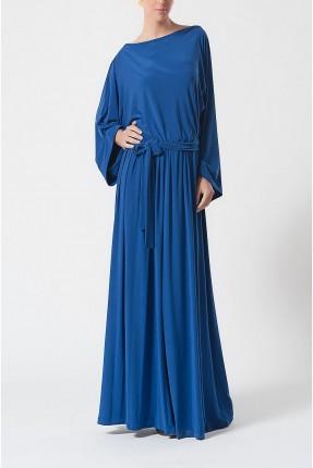فستان بحزام على خصر - ازرق
