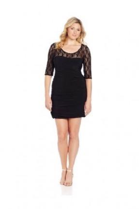 فستان قصيرة الاكمام والاطراف دانتيل شفاف - اسود