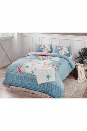 طقم غطاء سرير فردي -  ازرق