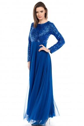 فستان مشكوكة من الاعلى ترتر - ازرق