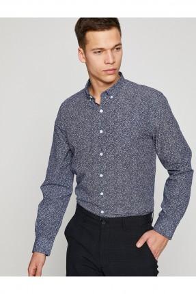 قميص رجالي كم طويل منقوش _ ازرق داكن