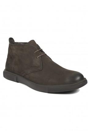 حذاء رجالي جلد ناشف - بني