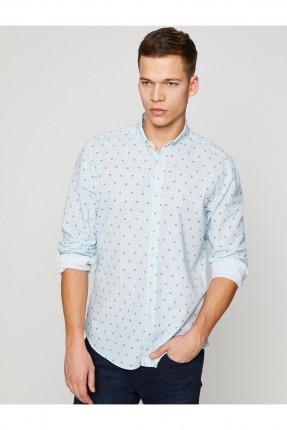 قميص رجالي كم طويل منقوش _ ازرق