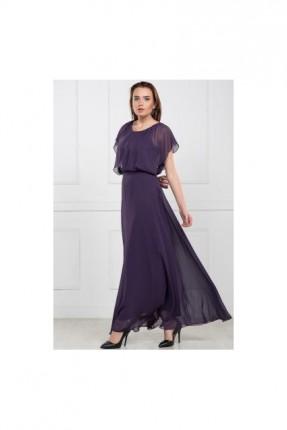 فستان شيفون نصف كم - بنفسجي
