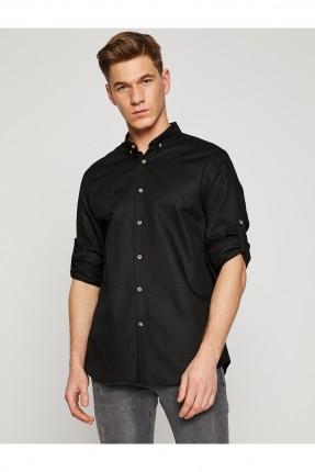قميص رجالي كم طويل  _ اسود