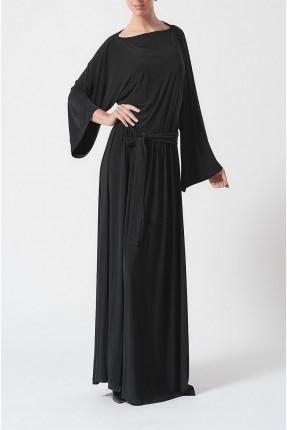 فستان بحزام على خصر - اسود