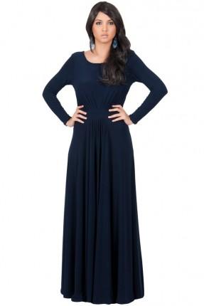 فستان مزموم من الخصر - ازرق داكن