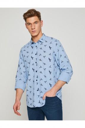 قميص رجالي منقوش _ ازرق
