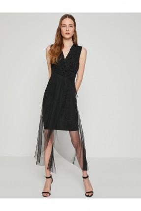 فستان ياقة V مع شيفون _ اسود