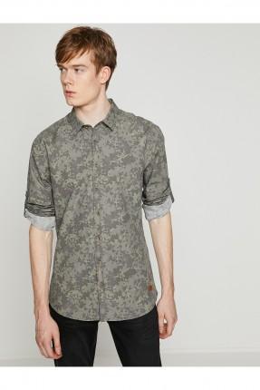 قميص رجالي كم طويل منقوش
