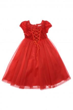 فستان اطفال بناتي نفش - احمر