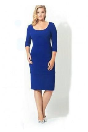 فستان قصير مفتوح الصدر - ازرق