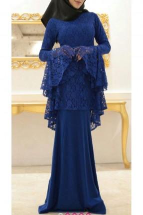 فستان طويل دانتيل فضفاض من الاكمام والخصر -ازرق
