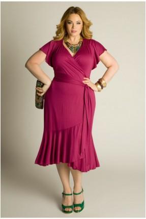 فستان قصير مشرشب - فوشي