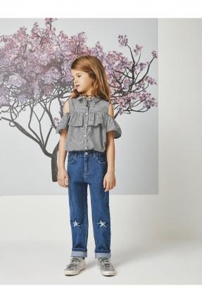 قميص بناتي كاروهات عاري الاكتاف ومكشكش
