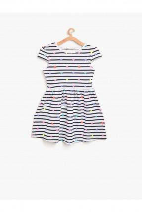 فستان اطفال مخطط مع نجوم ملونة _ ابيض