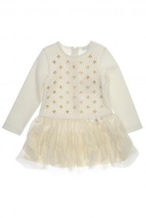 فستان اطفال بناتي مزركش برسوم ذهبية