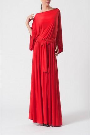 فستان  طويل بحزام على الخصر - احمر