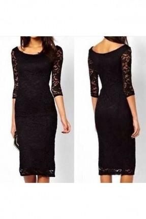 فستان قصير دانتيل باكمام شفافة - اسود