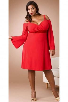 فستان مزموم من الصدر مفرغ الاكتاف - احمر