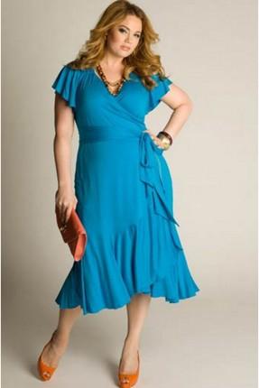فستان قصير مكشكش - ازرق