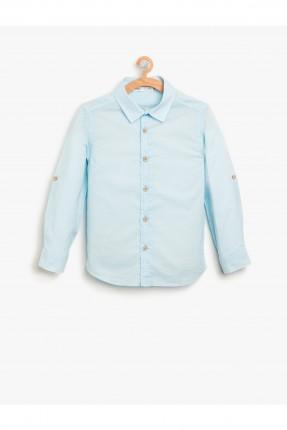 قميص ولادي كم طويل _ ازرق