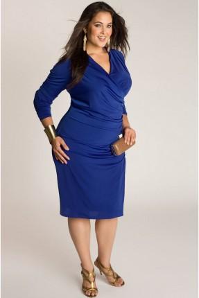 فستان قصير مفتوح الصدر سبعة - ازرق