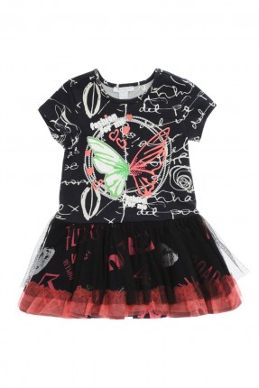 فستان اطفال بناتي بطبقة شيفون - اسود