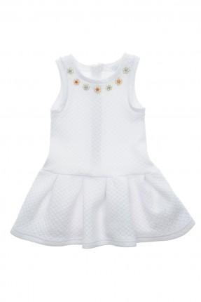 فستان اطفال بناتي سادة بورود صغيرة - ابيض