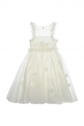 فستان اطفال بناتي بحواف مزينة بالورود - ابيض