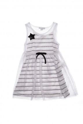 فستان اطفال بناتي مخطط ابيض